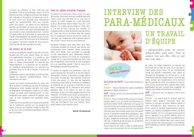 2524 La Lettre de l'AJP :Tout d'abord présentez- vous ? Emilie : Faisant fonction de cadre en pédiatrie générale en région...