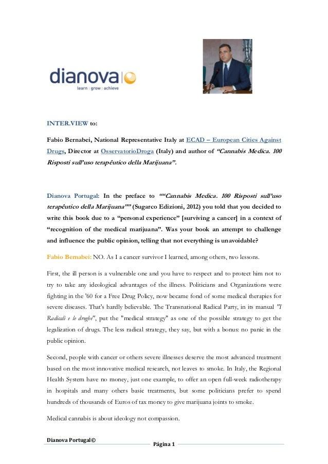 INTER.VIEW to:Fabio Bernabei, National Representative Italy at ECAD – European Cities AgainstDrugs, Director at Osservator...