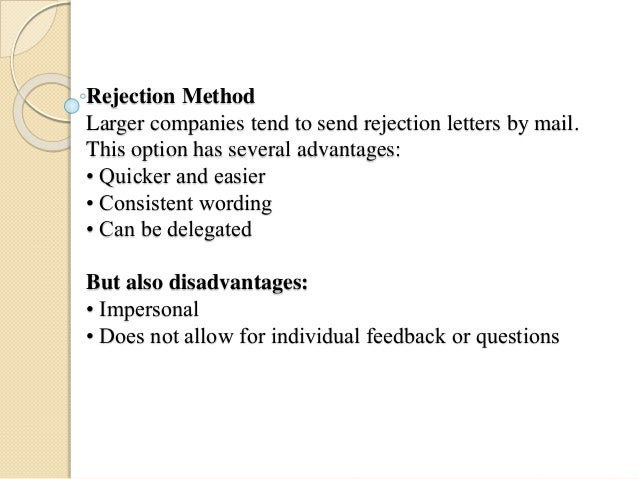 Rejection Letter to Interviewees not Hired