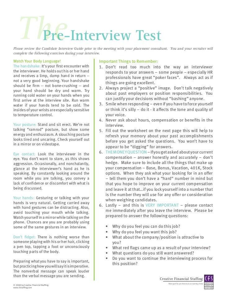 CFS Interview Preparation Worksheet