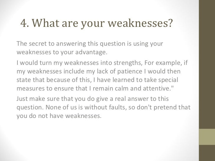 job interview weaknesses