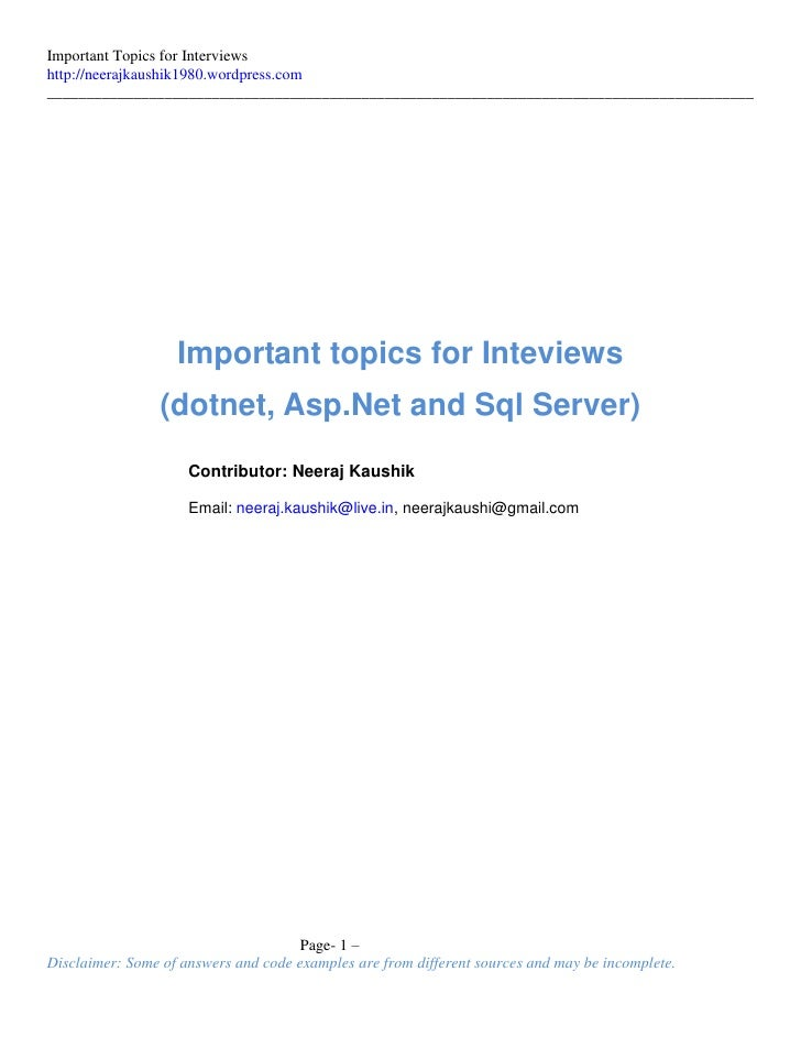 DotNet & Sql Server Interview Questions