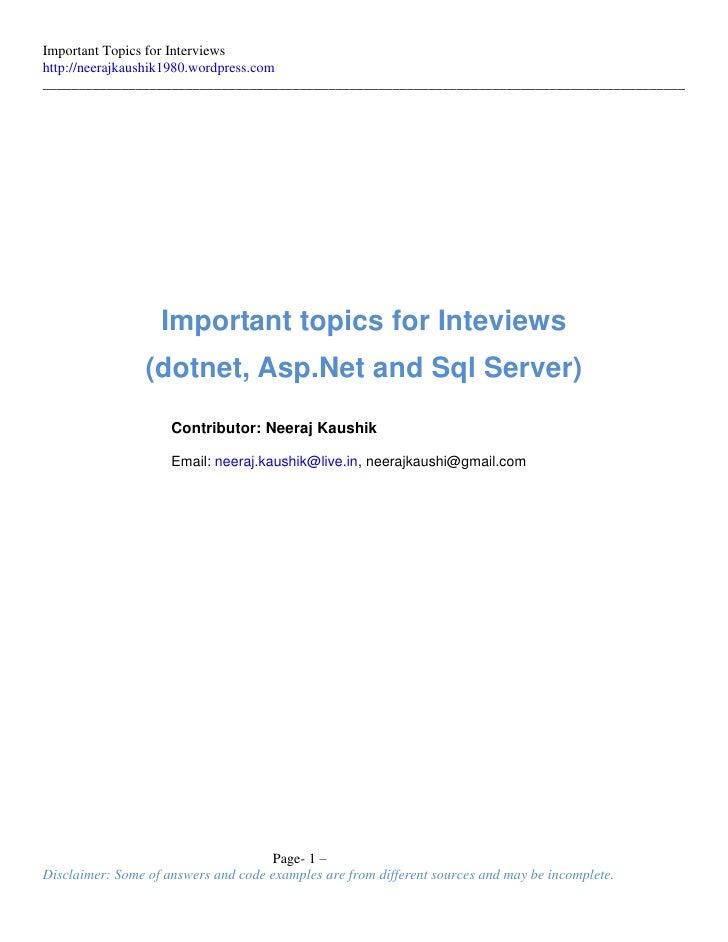 DotNet & Sql Server Interview Questions