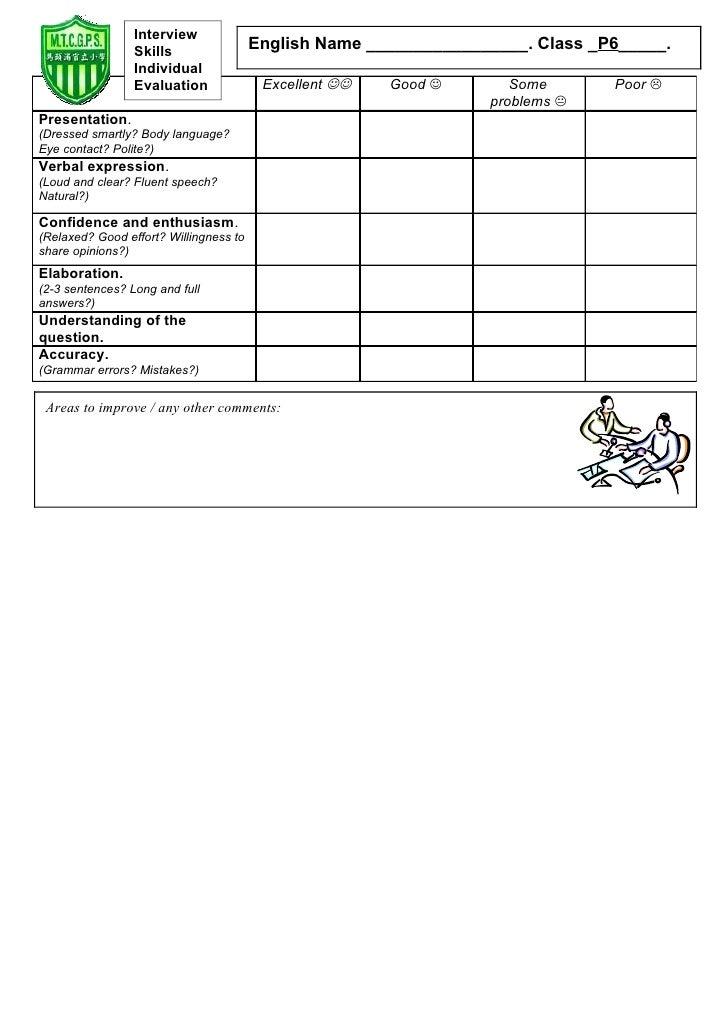 Tom's TEFL: Interview Skills Evaluation Form