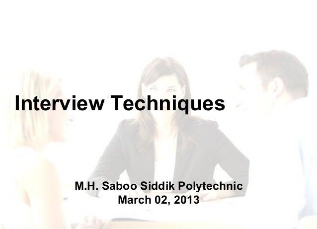Interview techniques(r)