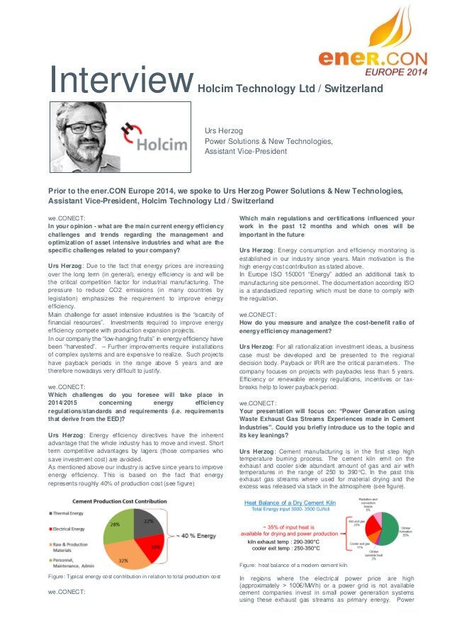 Interview  Holcim Technology Ltd / Switzerland  Urs Herzog Power Solutions & New Technologies, Assistant Vice-President  P...