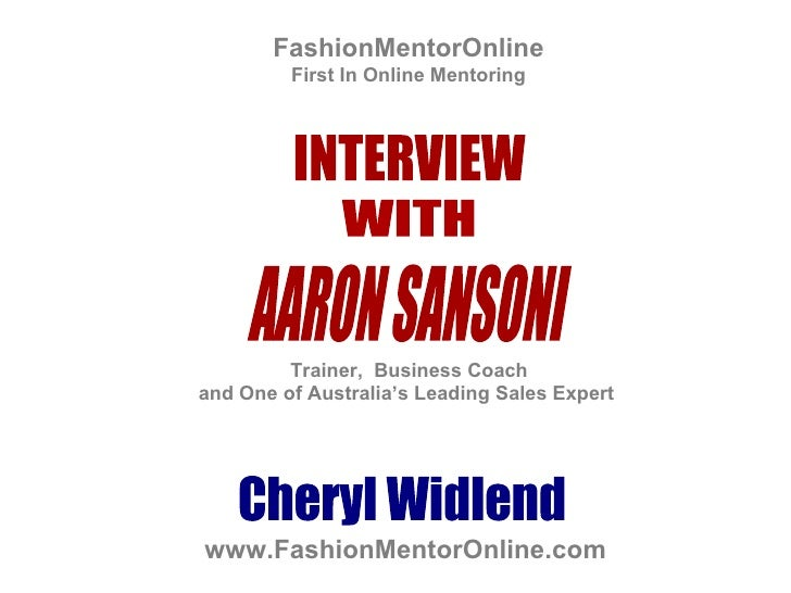 FashionMentorOnline First In Online Mentoring Cheryl Widlend Trainer,  Business Coach  and One of Australia's Leading Sale...