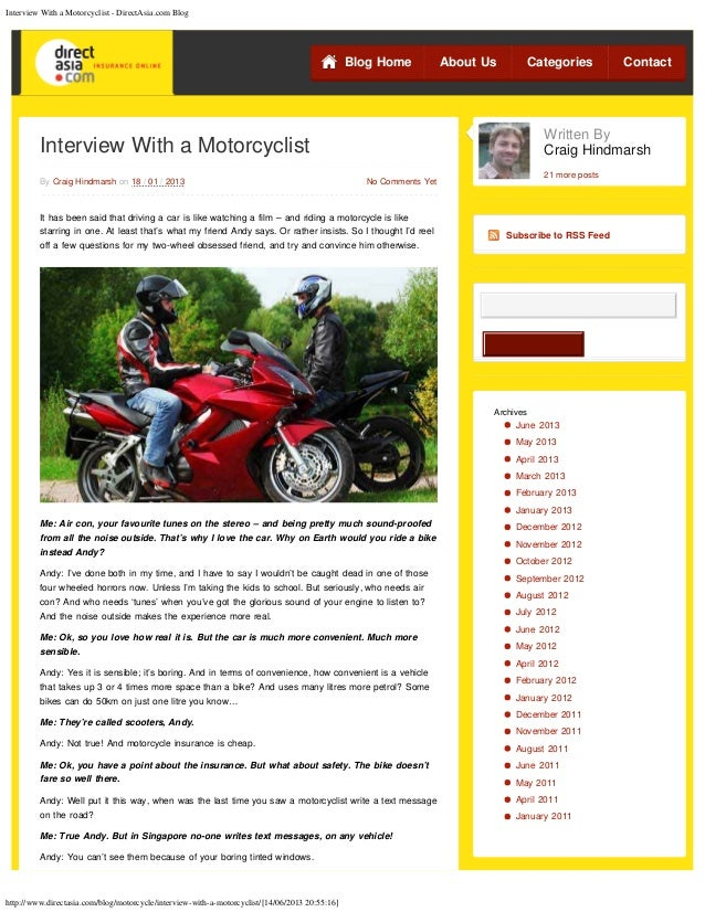 Interview with a Motorcyclist - what's drives the passion?