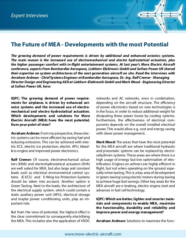 The Future of MEA - Developments with the most Potential - Interview with 3 experts from Bombardier Aerospace, Liebherr-Elektronic GmbH and Safran Power UK