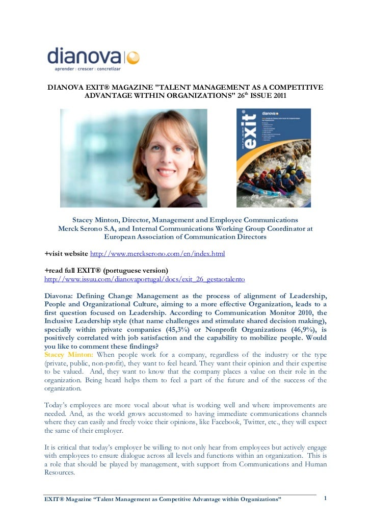 """DIANOVA EXIT® MAGAZINE """"TALENT MANAGEMENT AS A COMPETITIVE         ADVANTAGE WITHIN ORGANIZATIONS"""" 26th ISSUE 2011       S..."""