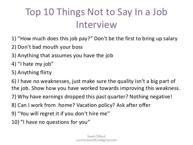 What not to say at a interview?