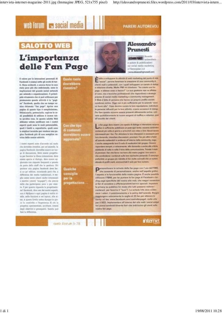 Intervista su Internet Magazine - 2011