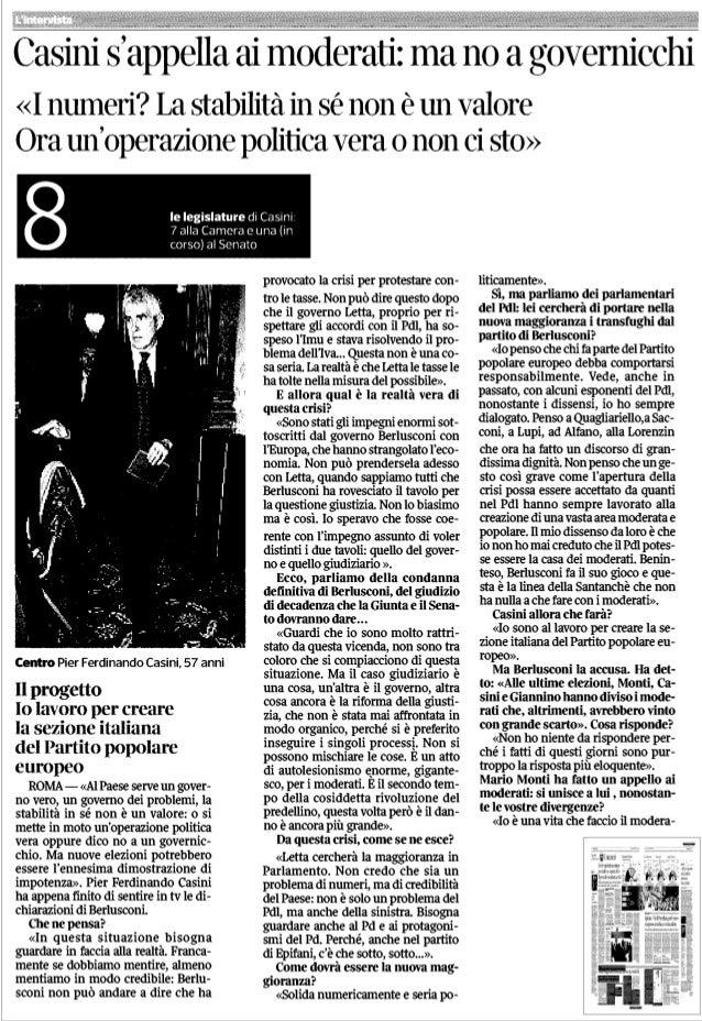 Pier Ferdinando Casini s'appella ai moderati: ma no a governicchi - CorSera - 30.09.13