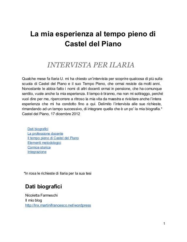 Intervista per Ilaria: I miei primi anni al tempo pieno di Castel del Piano