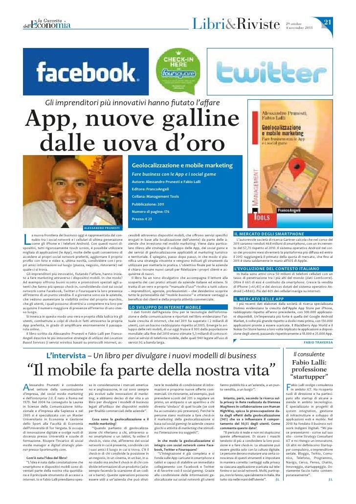"""Intervista della """"Gazzetta dell'Economia"""" del 29 ottobre 2011 ad Alessandro Prunesti"""