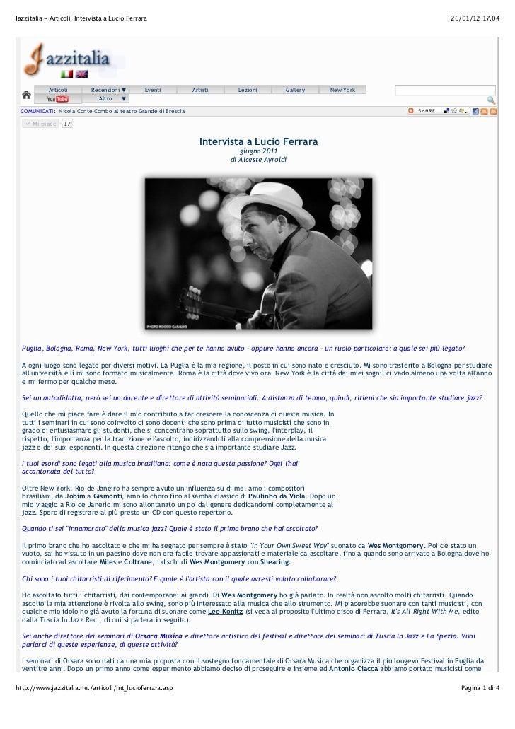 Jazzitalia - Articoli: Intervista a Lucio Ferrara                                                                         ...