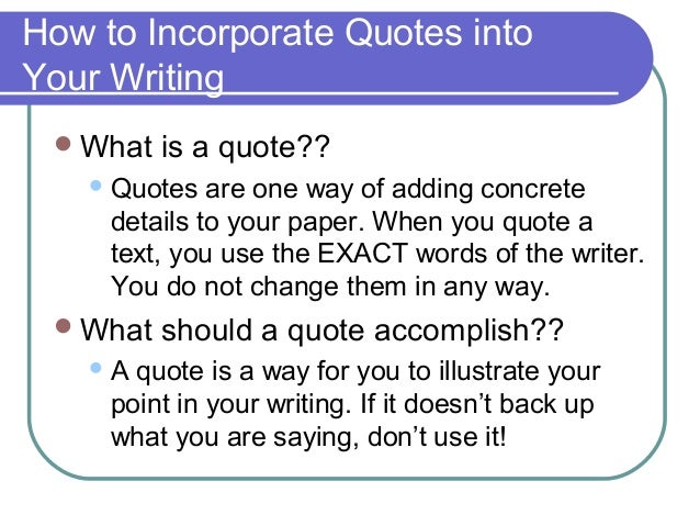 How do you write a quote from a book into an essay?