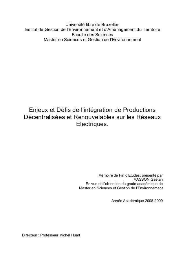 Université libre de Bruxelles Institut de Gestion de l'Environnement et d'Aménagement du Territoire Faculté des Sciences M...