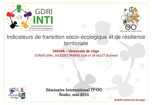 Séminaire International IT-GO Rosko, mai 2014 SEGEFA-Université de Liège Indicateurs de transition socio-écologique et de ...