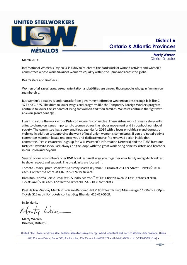 District 6 Ontario & Atlantic Provinces March 2014  Marty Warren District Director  International Women's Day 2014 is a da...
