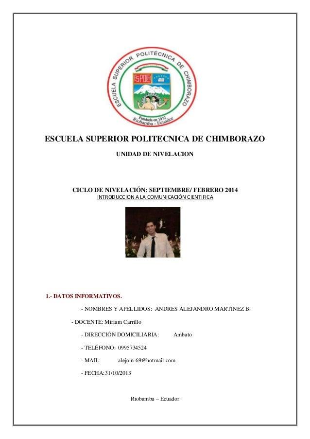 ESCUELA SUPERIOR POLITECNICA DE CHIMBORAZO UNIDAD DE NIVELACION  CICLO DE NIVELACIÓN: SEPTIEMBRE/ FEBRERO 2014 INTRODUCCIO...