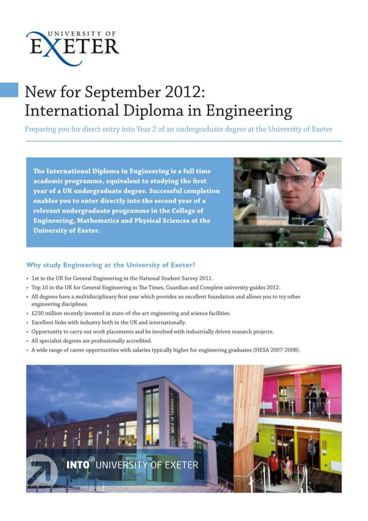 INTO Exeter International Diploma in Engineering - Intelligent Partners