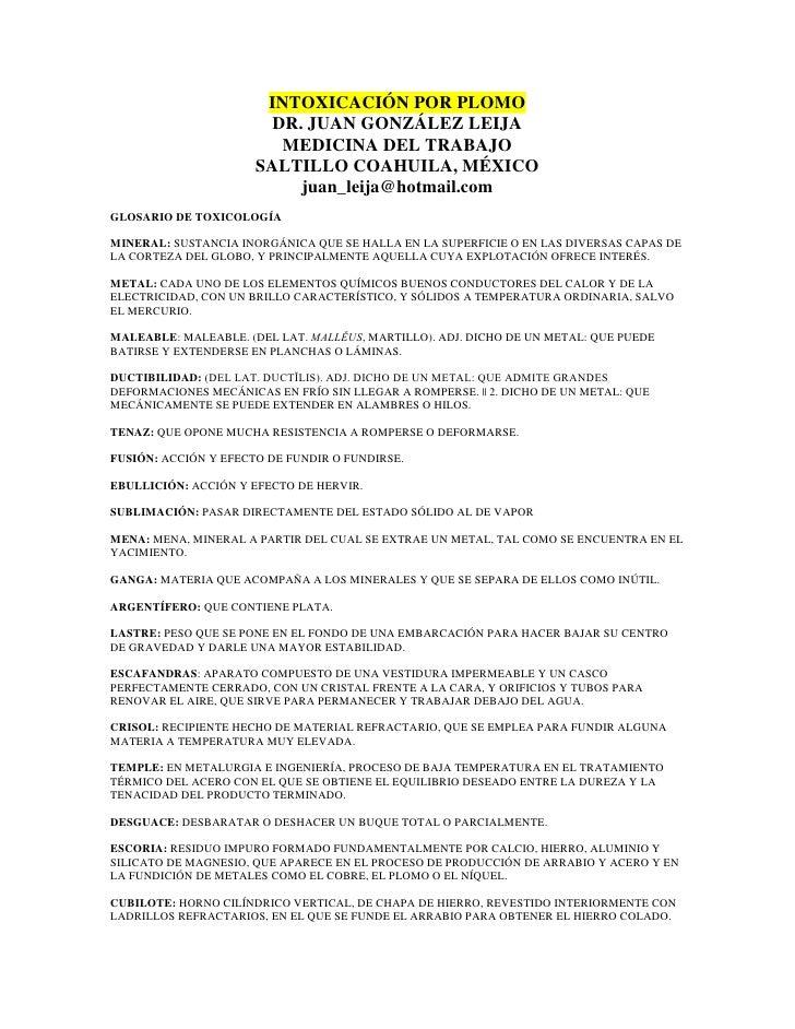 Intoxicación por plomo (lead)
