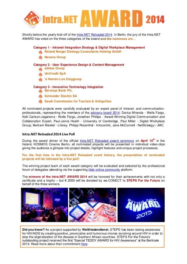 Intra.NET Reloaded 2014 Award Nominees