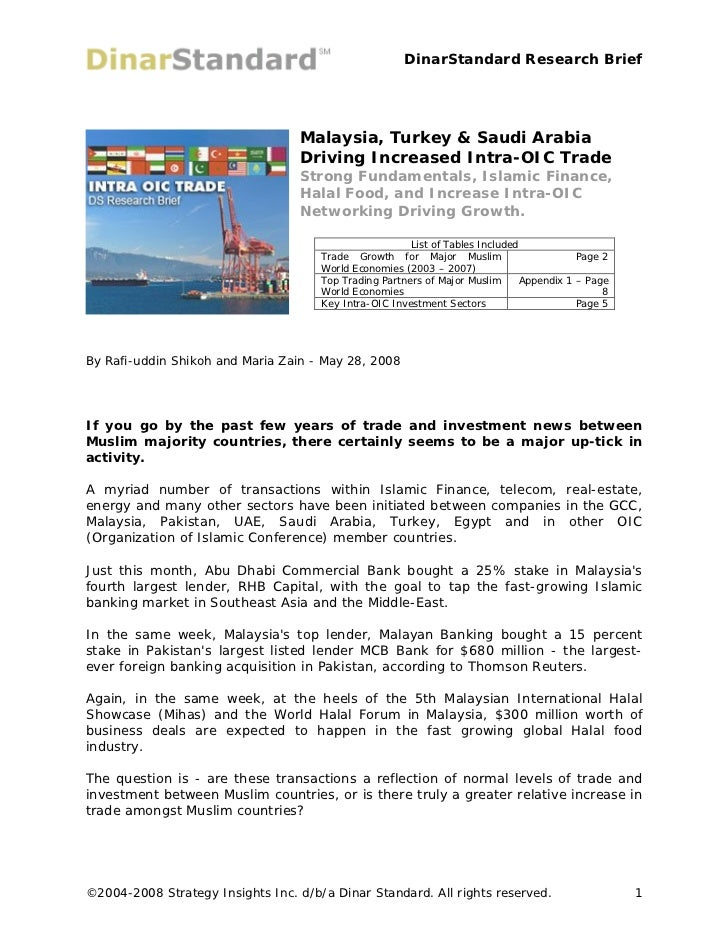 DinarStandard Research Brief                                  Malaysia, Turkey & Saudi Arabia                             ...