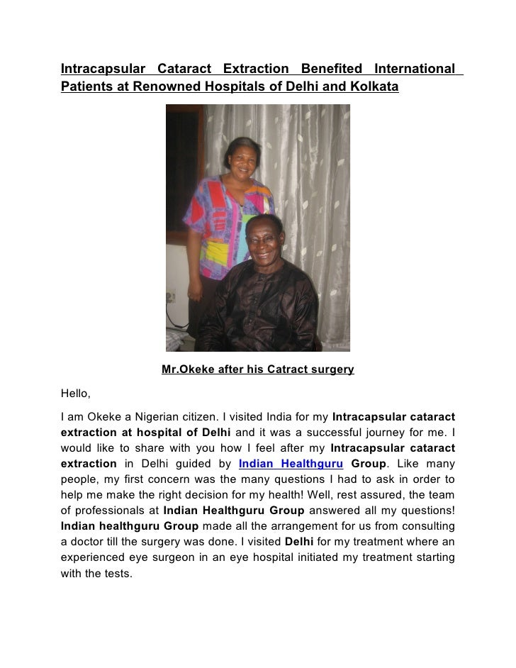 Intracapsular Cataract Extraction Benefited International Patients at Renowned Hospitals of Delhi and Kolkata