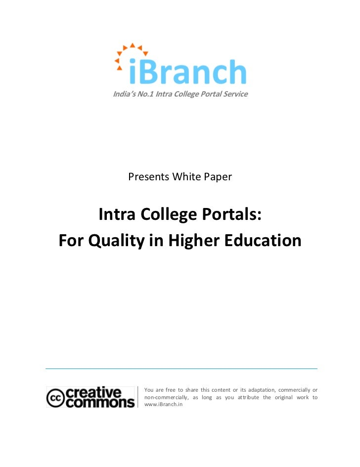 India's No.1 Intra College Portal Service          Presents White Paper     Intra College Portals:For Quality in Higher Ed...