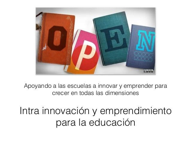 Apoyando a las escuelas a innovar y emprender para  crecer en todas las dimensiones  Intra innovación y emprendimiento  pa...