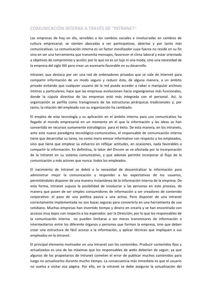 """COMUNICACIÓN INTERNA A TRAVÉS DE """"INTRANET"""" Las empresas de hoy en día, sensibles a los cambios sociales e involucradas en..."""
