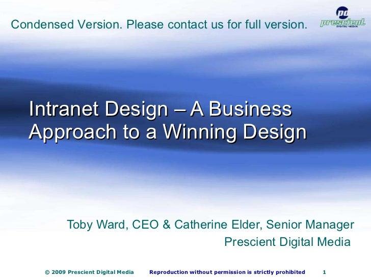 Intranet Design – A Business Approach to a Winning Design