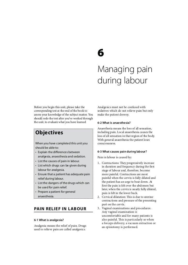 Intrapartum Care: Managing pain during labour