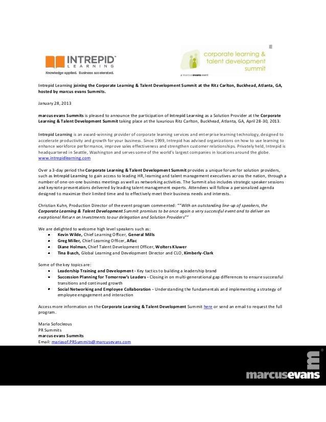 Corporate Learning & Talent Development Summit 2013 - Intrepid Learning