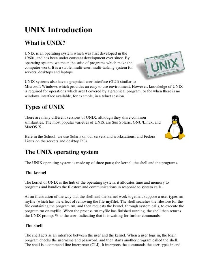 UNIX Introduction <br />What is UNIX? <br />right0UNIX is an operating system which was first developed in the 1960s, and ...