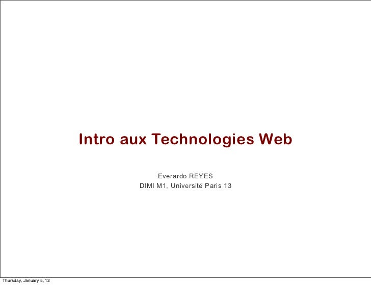 Séance 01. Introduction aux technologies Web