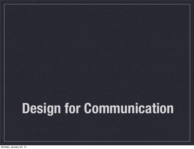 Intro to Design for Communications