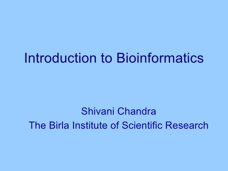 Intro bioinfo