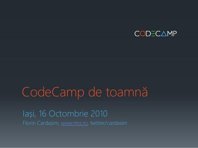 Intro CodeCamp 16 oct 2010