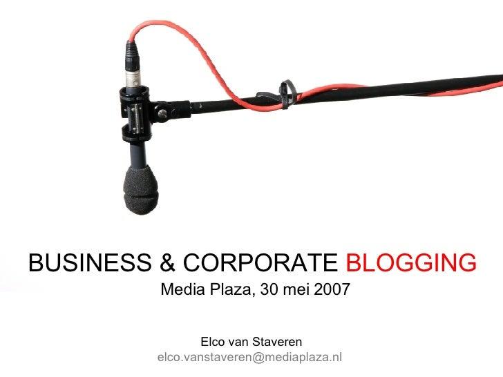 Intro: Corporate & Business Blogging