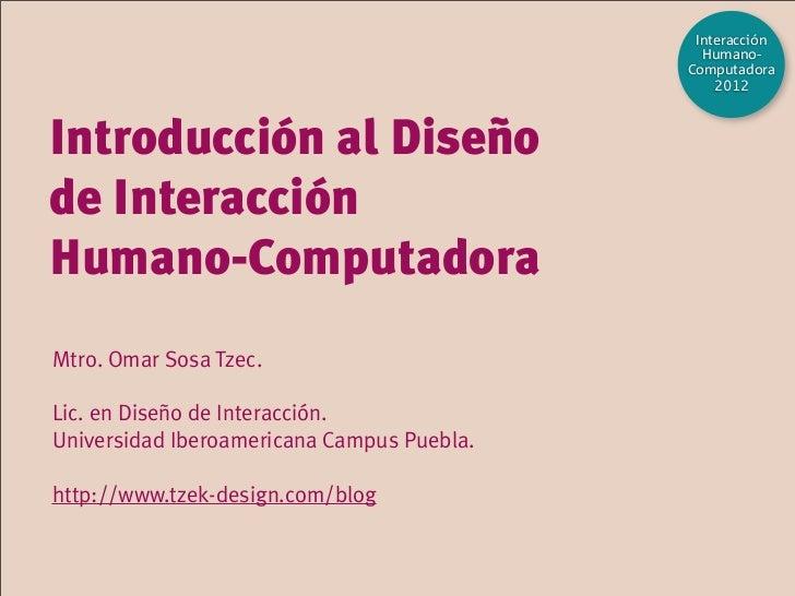 Introducción al Diseño de Interacción Humano-Computadora