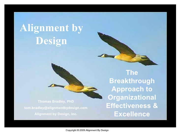 Alignment by Design The Breakthrough Approach to Organizational Effectiveness & Excellence Thomas Bradley, PhD [email_addr...