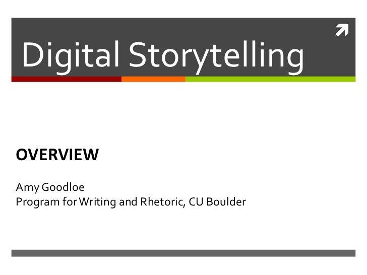 Digital Storytelling in Higher Ed