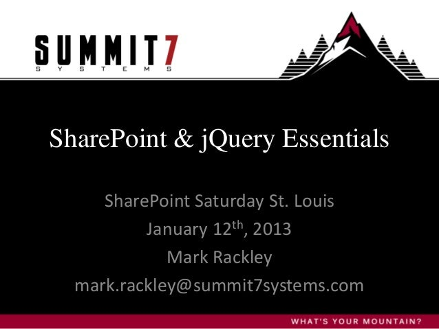 SharePoint and jQuery Essentials