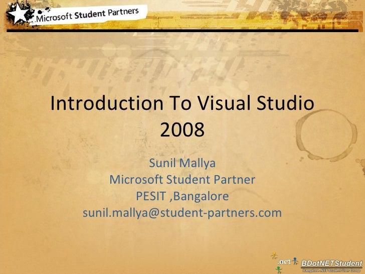 Intro To Visual Studio2008