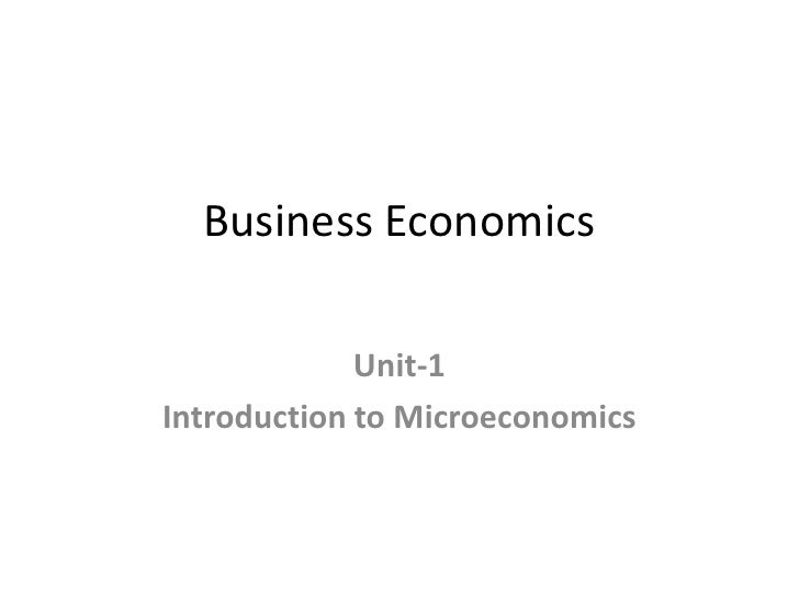 Intro. to business economics