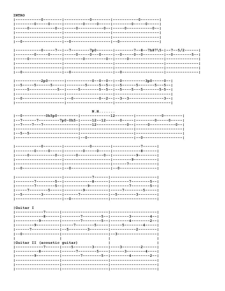 Tablatura Metallica