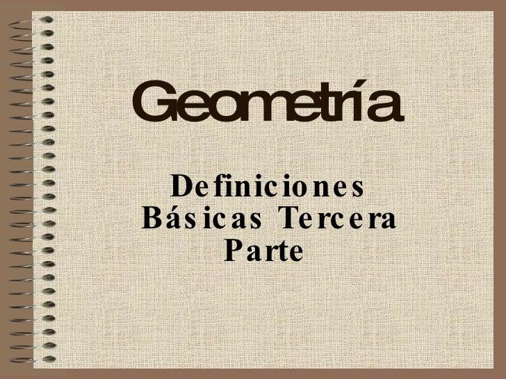 Vocabulario Básico Geometría - Parte III